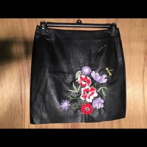 COPY - Embroidered Black Leather Skirt